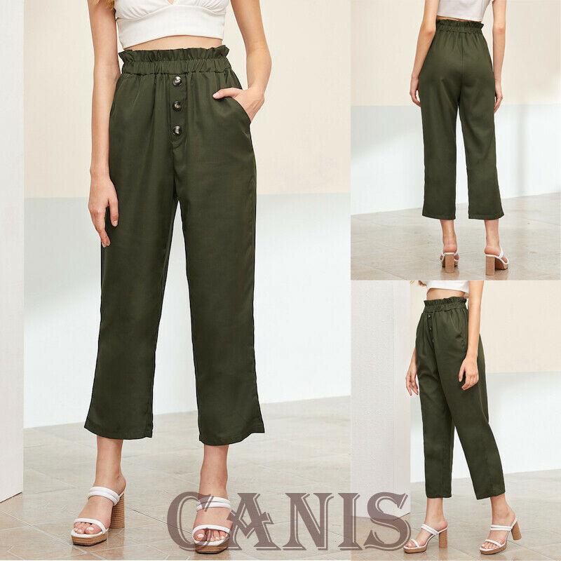 Goocheer Treny Women Summer High Waist Frill Button Front Straight Leg Crop Pants