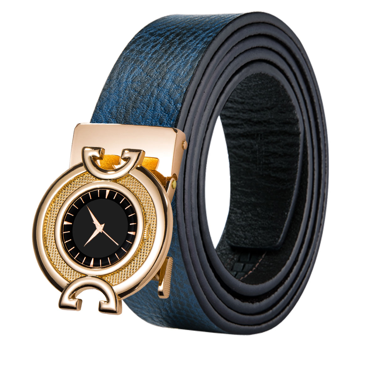 Blue Genuine Leather Mens Belts Hollowed Automatic Buckles Ratchet Dress Belts