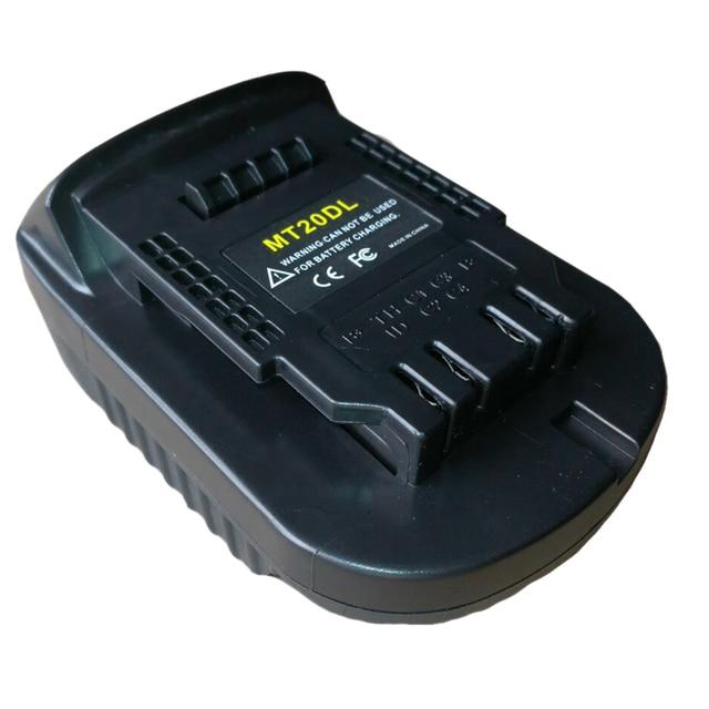 Adaptador de batería Mt20Dl para Makita 18V Bl1830 Bl1860 Bl1815 batería de iones de litio para Dewalt 18V 20V Dcb200 luz de pared de batería de iones de litio