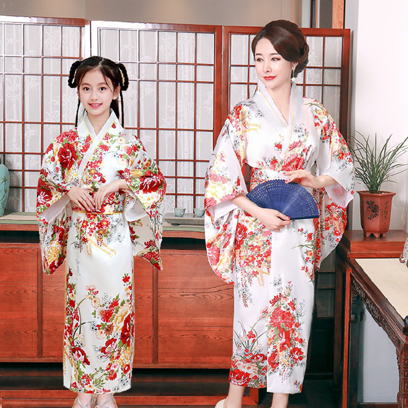 Mother And Daughter Japanese Kimono Cherry Blossom Kimono Parent-child Outfit Cos Anime Samurai Windt Floral Stage Show Clothing