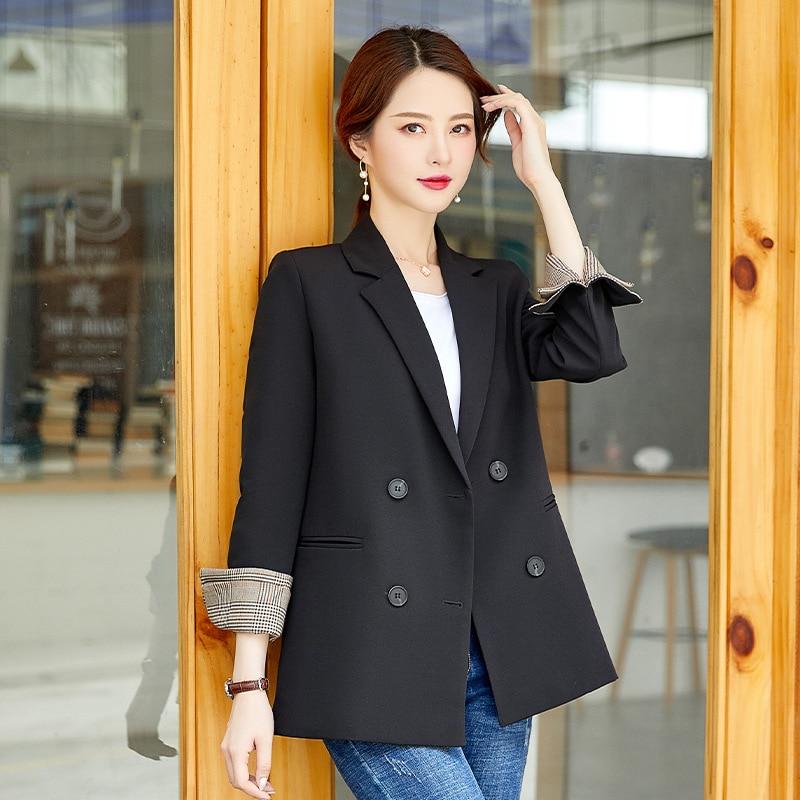 Temperament women's black jacket large size Casual loose plaid sleeve ladies blazer Fashion office suit female high quality 2019