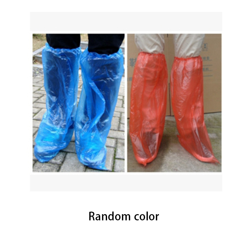 50 Pairs Disposable Plastic Long Shoe Covers Rain Shoes and Boots Cover Waterproof Anti-Slip Overshoe( Ran )