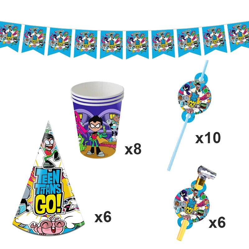 Teen Titans Go День Рождения украшения для баннеров супер герой тема сувениры фон бумажный стаканчик