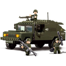 191Pcs/set Military Armored Hummer Vehicle Model Army Soldiers Building Blocks Figures Playmobiling Educational Toy for Children(China)