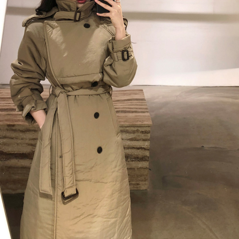 Shipping Out On Autumn New Female Windbreaker Coat Korean Version Of The Waist Belt Slim Double-breasted Jacket