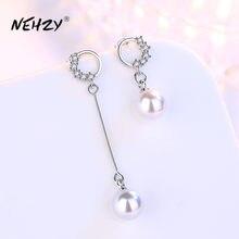 NEHZY 925 en argent Sterling nouvelle femme bijoux de mode haute qualité cristal Zircon exagéré Long gland rond perle boucles d'oreilles
