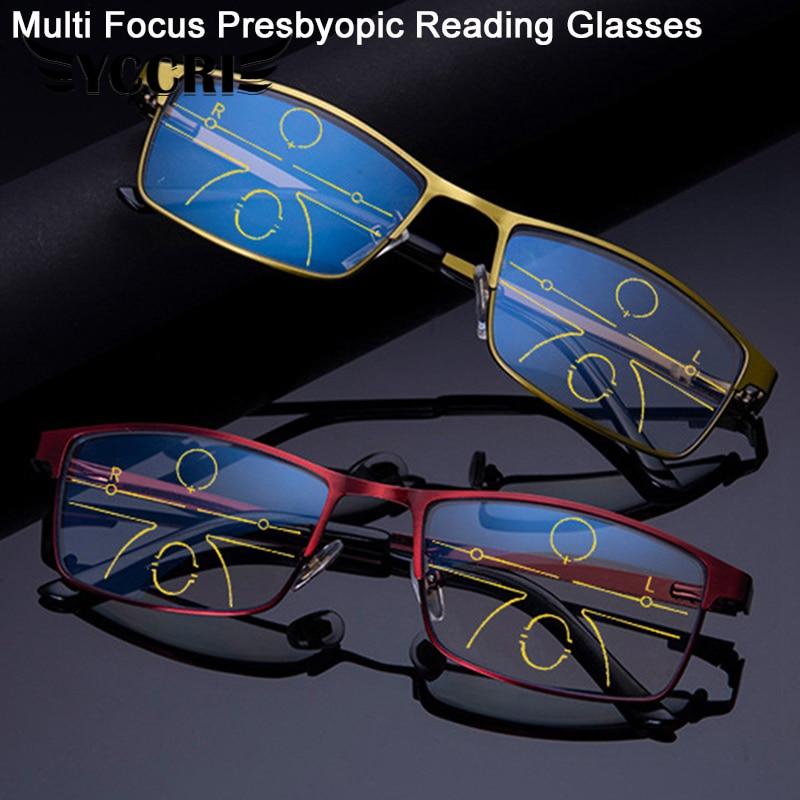 Progressive Multi-focus Reading Glasses for Men Women Anti-blue Light Near Far Reading Glasses Anti-radiation Mobile Metal Gafas