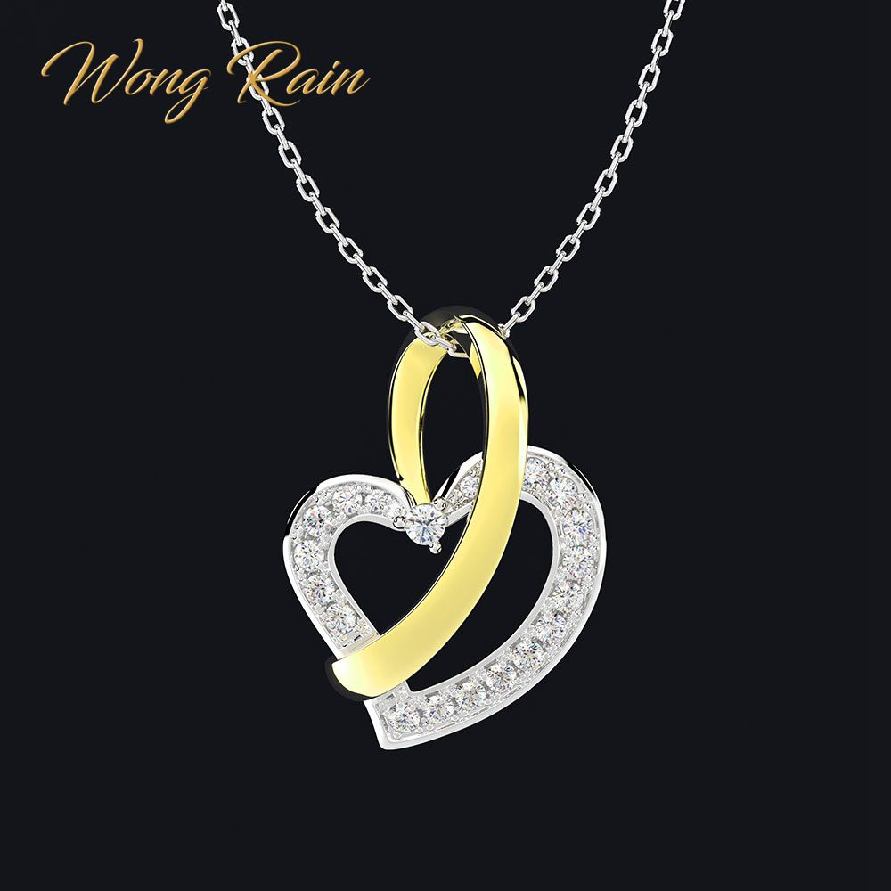 Wong Rain Romantic 100% 925 Sterling Silver Created Moissanite Gemstone Love Heart Women Pendant Necklace Fine Jewelry Wholesale