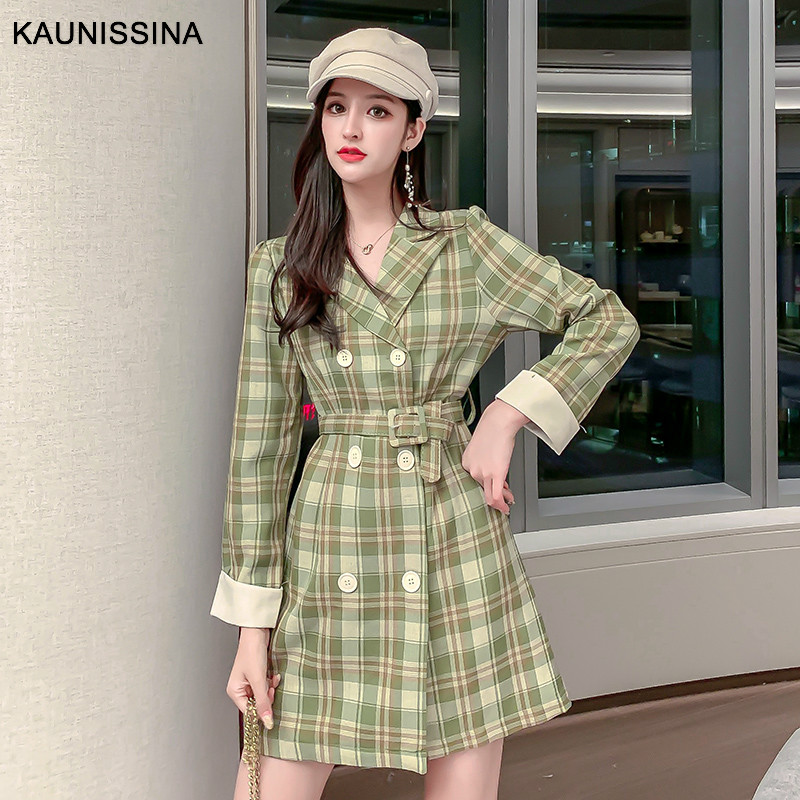KAUNISSINA Korean Style Cocktail Dresses Long Sleeve V-neck Button Belt Plaid Autumn Spring Party Gown Cocktail Robe