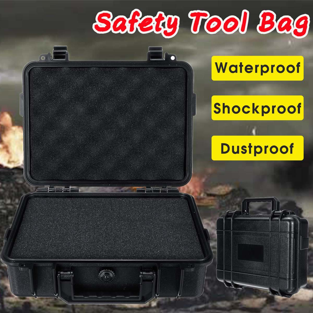 Waterproof Safety Case ABS Plastic Tool Box Tactical Dry Box Sealed Safety Equipment Storage Toolbox Outdoor Tool Container|Tool Cases| |  - title=