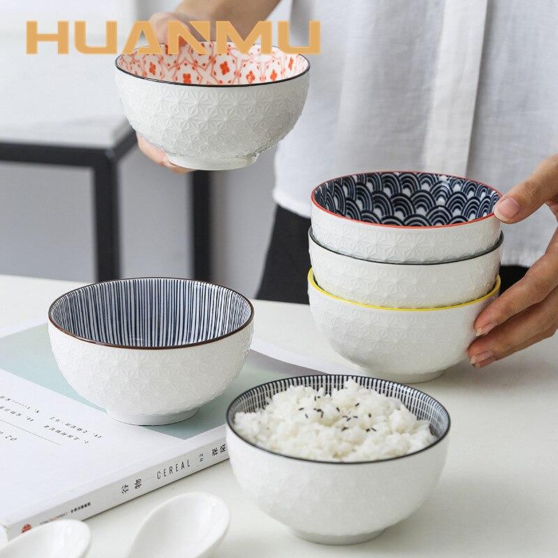 4,5 дюймов бытовой чаша для риса Керамика посуда Nordic Минималистский Стиль подглазурного рельеф Кухонные принадлежности миска для каши маленький|Чаши| | АлиЭкспресс