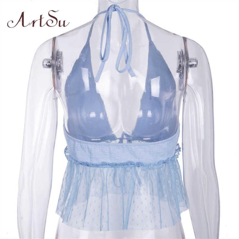 ArtSu Patchwork femmes maille haut à licou Robe Sexy col en V profond Boho Camis dos nu haut court bleu Camisole Cami ASVE20416