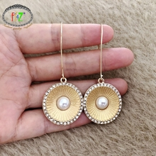 pair of graceful rhinestone circle earrings jewelry for women F.J4Z New Statement Earrings for Women Beautiful Rhinestone Around Circle Pendant Cocktail Earring Jewelry Gifts Dropship