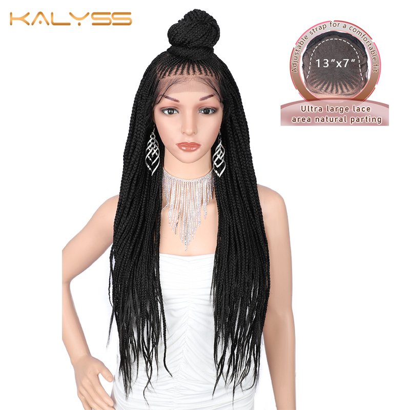 Kaylss 13x7 Hand Braided Wigs 30 Inches Long Synthetic Lace Front Wig For Black Women Box Braid Wig Cornrow Braids Lace Wigs