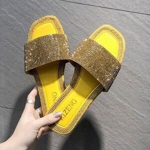 Image 5 - SHOFORT Frauen Schuhe Mode Kühlen Hausschuhe Sommer Outdoor Schuhe Casual Hausschuhe Nicht slip Boden Hausschuhe Strass Bling