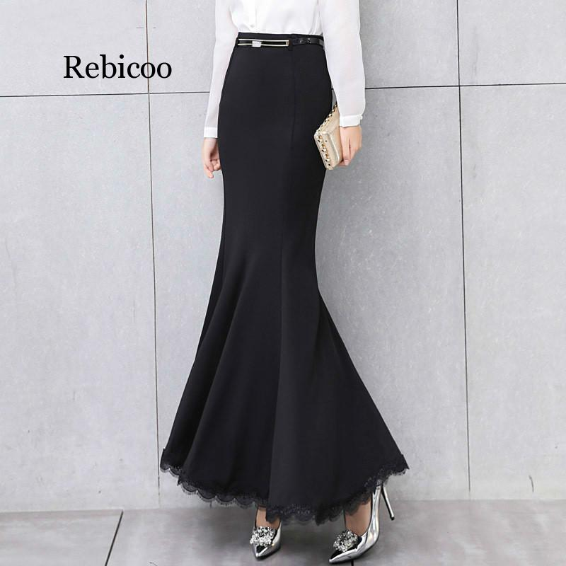 Elegant Long Skirt Women Lace Trumpet Mermaid Vintage Skirts Womens Bodycon High Waist Skinny Ruffles Female Midi Skirts