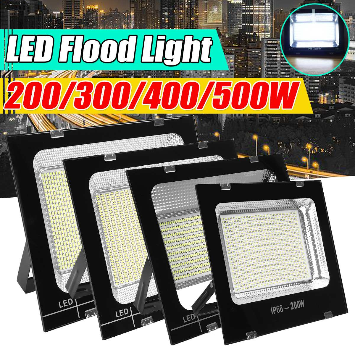 200/300/400/500W Led Flood Light Wall Lamp Outdoor Lighting Super Bright Security Lights IP66 Waterproof Floodlight Landscape