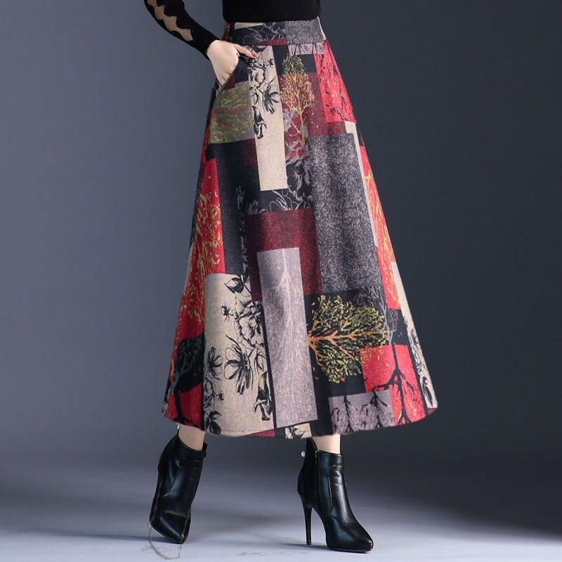 Autumn Winter A-line Long Skirts Womens Maxi Skirt Female High Waist Warm Wool Skirt Elegant Office Lady Printing Plaid Skirt