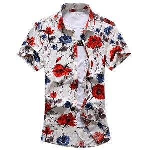 Image 4 - HCXY Camiseta de verano para hombre, camisa de manga corta ajustada con estampado Floral, ropa de tendencia para hombre, camisas informales con flores, talla M 7XL, 2019