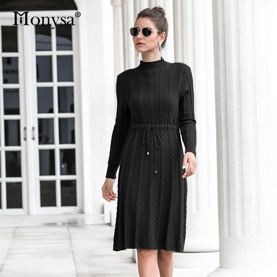 Autumn Winter Dresses 2019 New Arrival Fashion Casual Knee Length Knitted Dress Ladies Long Sleeve Sweater Dresses Black Blue 63