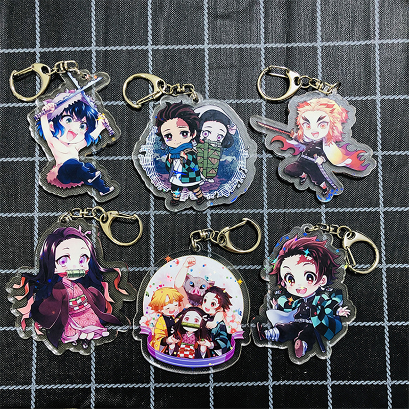 Anime Demon Slayer Kimetsu No Yaiba Keychain Cosplay Props Kamado Tanjirou Nezuko Key Ring Agatsuma Zenitsu Car Key Chain