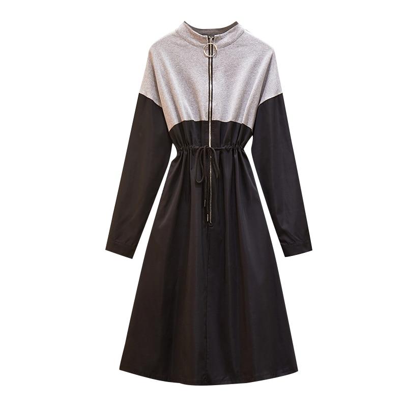 5XL Large Plus Size Fashion Sport Dress Women Contrast Color Long Sleeve Autumn Winter Bodycon A Line Dress Drawstring Sportwear