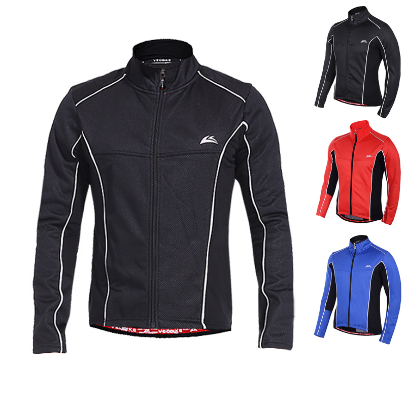 VEOBIKE 2018 Thermal Cycling Jacket Winter Warm Up Fleece Bicycle Clothing Windproof Waterproof Sports Coat MTB