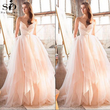 V Neck Simple Wedding dresses Pink Ball Gown Spaghetti Straps Sleeveless Bridal Gowns Vestidos de Novia Gelinlik