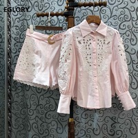 High Quality Designer Clothing Sets 2020 Spring Summer Short Suit Women Hollow Out Embroidery Pink Shirts+Belt Shorts Set 2 Pcs