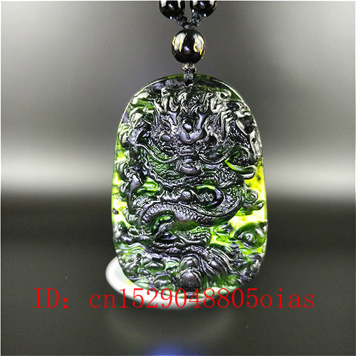 Certified Chinese Natural Black Green Jade Dragon Pendant Beads Necklace Charm Jewelry Hand Carved Amulet Gifts For Men Her