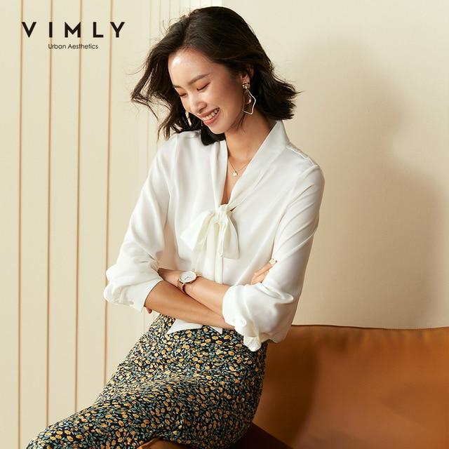 Vimly Office Ladies Elegant Women Blouse Fashion Bow Long Sleeve Formal Shirt 2020 Vintage Blusas Femininas F5795 2