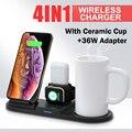 4 em 1 copo de café caneca aquecedor sem fio carregador 15 w qi estação doca suporte carregamento para iphone 11 xs xr x 8 apple relógio airpods pro