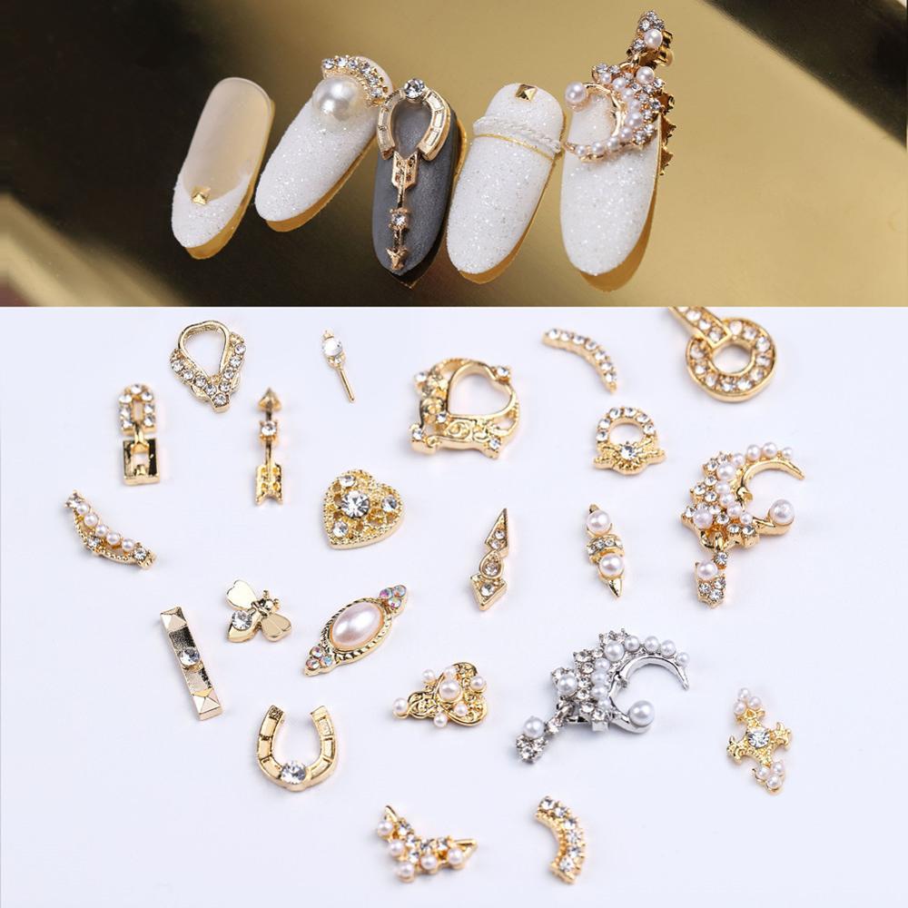 Золотые гвоздики для ногтей с натуральным жемчугом, аксессуары для дизайна ногтей, УФ-Гель-лак для украшения ногтей