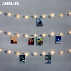 ANBLUB 1M 2M 5M LED String Lights Photo Clip Fairy Garland Battery Operated For New Year Christmas Party Wedding Xmas Decoration