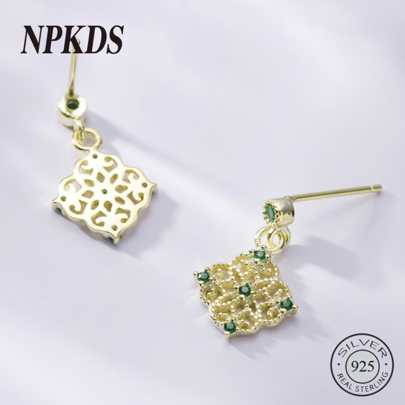 New Arrival Sterling Silver 925 Emerald Earrings Square Openwork Green Zircon Stud for Women Palace Jewelry Gift