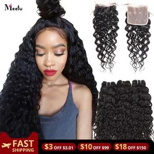 Meetu Water Wave Bundles With Closure Transparent Lace Closure With Bundles Brazilian Hair Weave Bundles With Closure Non Remy