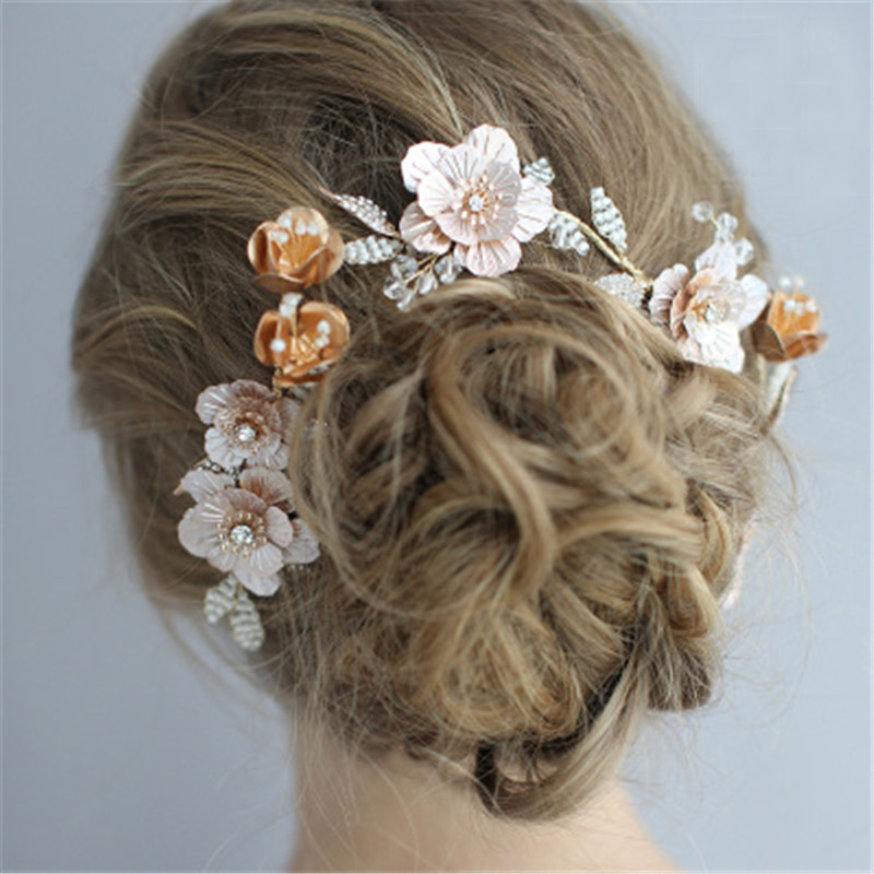 Wedding Headpiece Tiaras De Noiva Handmade Floral Crown Wedding Jewelry Bridal Hair Accessories Flower Hairpins For Bride Gifts