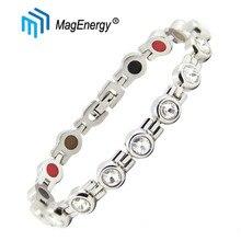 MagEnergy crystal bracelet women magnetic bracelets for arthritis stainless steel healing health adjustable