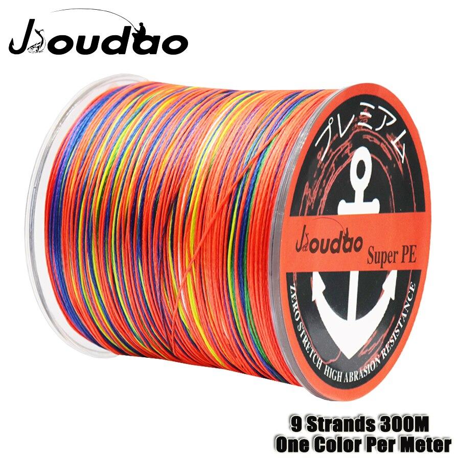 Jioudao örgülü olta 9 tellerinin 300m renkli Multifilament olta bir renk metre başına PE balıkçılık tel 20LB-200LB