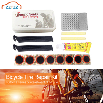 Motorcycle Bike Inner Tire Patch Repair Kit - Portable Tools Set Glue & Levers Fix Flat Leak Innertube Puncture Bicycle Travel image