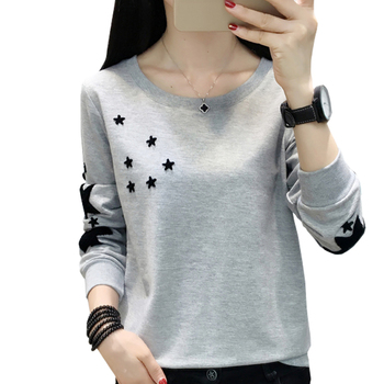 Hoodie Womens 2019 Autumn Korean Embroidered Stars Fashion Women Sweatshirt Plus Size O-Neck Blouse Long Sleeve Pullover Clothes black embroidered hoodie long sleeves mini sweatshirt