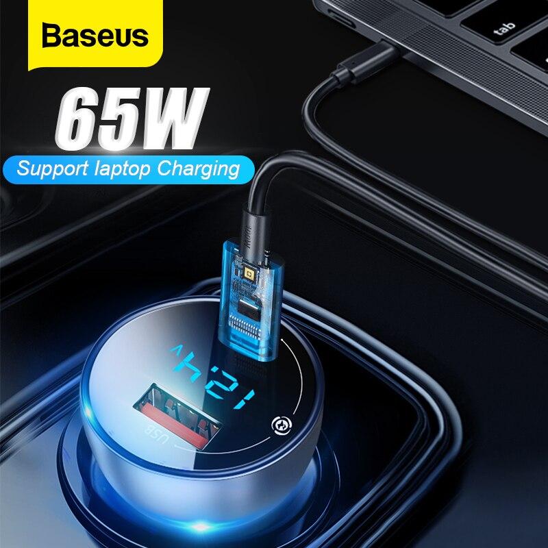 Baseus 65W USB Auto Ladegerät Schnell Ladung 4,0 3,0 QC 4,0 QC 3,0 Typ C PD Schnelle Auto Lade ladegerät Für iPhone Xiaomi Handy