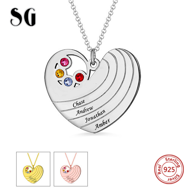 New Arrival 925 Sterling Silver Personalized Heart Necklace with Birthstones & Names Jewelry For Lover