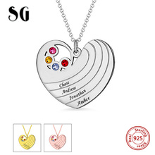 лучшая цена New Arrival 925 Sterling Silver Personalized Heart Necklace with Birthstones & Names Sterling Silver Jewelry For Lover