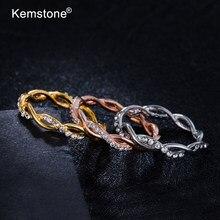 Модные креативные кольца Kemstone в стиле ретро, кольца из переплетенного розового золота с кристаллами для женщин, ювелирные изделия