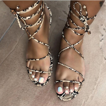 KAMUCC 2020Fashion Women's Flat Sandals Summer Outside Leopard Snake Print Shoes Ankle Strap Buckle Strap Gladiator Sandals