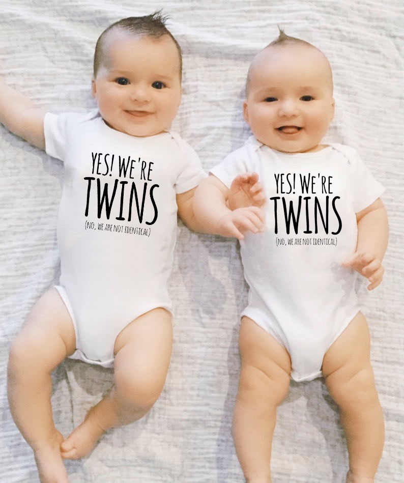 Yes We Are Twin Newborn Twins Baby Boys Girls Clothes Cotton Funny Letter Printed Bodysuit Short Sleeve Jumpsuit Aliexpress