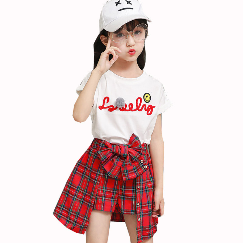 2020 Children's Clothing Summer Girl Top T-shirt + Grid Shorts Suit Fashionable <font><b>Clothes</b></font> for Kids Girls 8 10 <font><b>11</b></font> 12 <font><b>Years</b></font> <font><b>Old</b></font> image