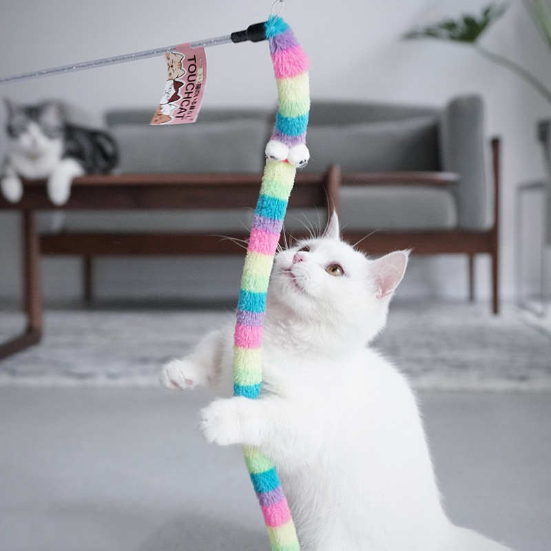 Colorful Kitten <font><b>Cat</b></font> <font><b>Toy</b></font> Interactive Soft Tease <font><b>Cat</b></font> Wand Rod <font><b>Cat</b></font> <font><b>Toy</b></font> <font><b>Feathers</b></font> Tease <font><b>Cat</b></font> <font><b>Stick</b></font> Products Training Exerciser image