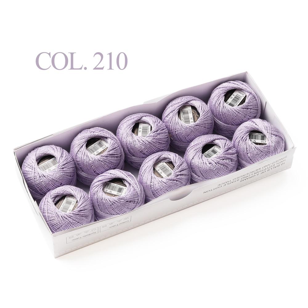 10 коробка с шариками Размер 8 жемчуг Хлопок нитки для вязания 43 ярдов двойная Мерсеризация длинный штапель из египетского хлопка 79 DMC цвета - Цвет: 210